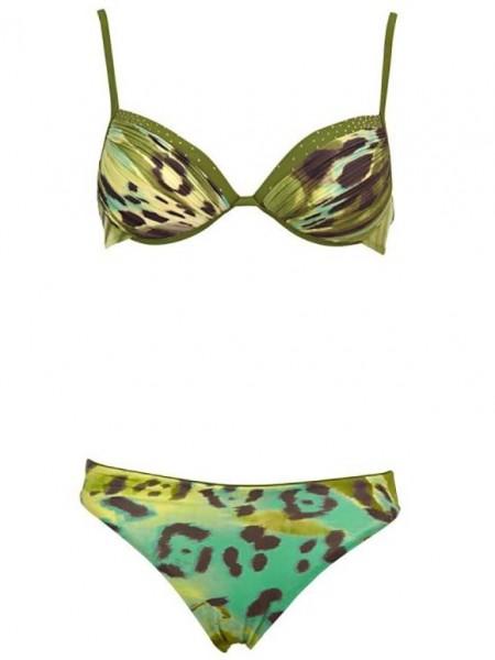 Push-Up- Bikini mit Steinen, khaki von Grimaldimare