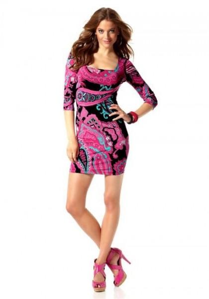 Kleid, schwarz-pink-bunt von Laura Scott