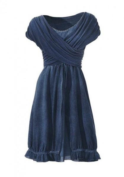Wickelkleid mit Nieten, blau von Linea Tesini