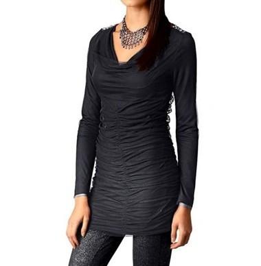 Lagen-Shirt mit Strass, schwarz von Alba Moda