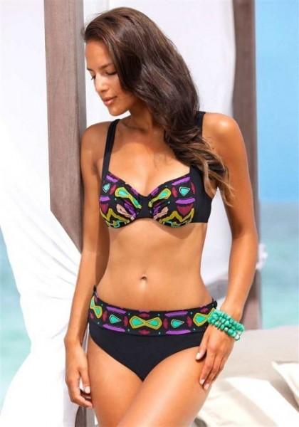 Bügel-Bikini, schwarz-bunt von Sunflair