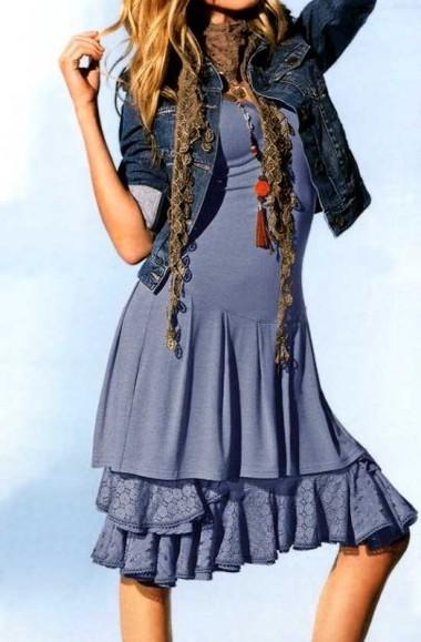 Kleid mit Spitzenunterrock, blau von Heine