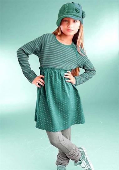 Mädchen-Kleid + Leggings, grün-grau von CFL