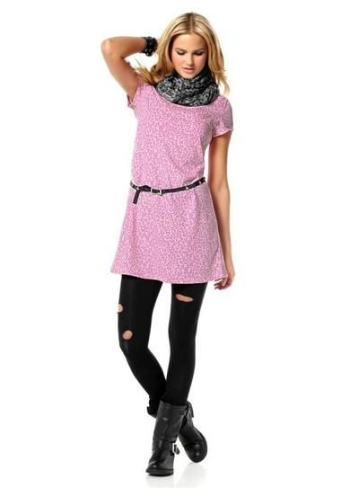 Leomuster-Kleid mit Gürtel, rosa-pink von André Borchers for AJC