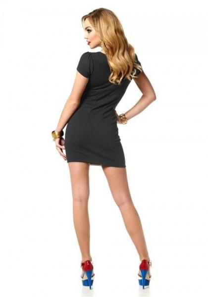 Kleid mit Streifen, schwarz-weiß von Melrose