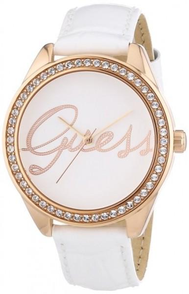 Guess W0229L5 Damen Armbanduhr mit weißem Lederarmband