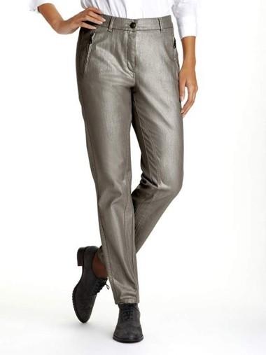 Hose mit Glanz, grau von Alba Moda