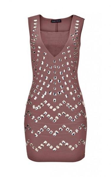 Kleid mit Schmucksteinen, braun von Melrose