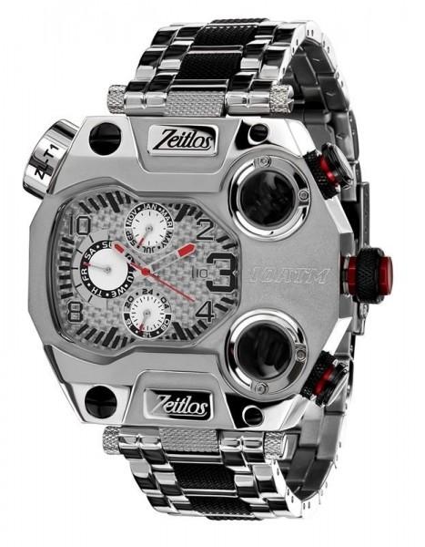 Zeitlos ZL-T1 Herrenuhr Beastmodus schwarz silberfarbig mit Stahlband und Kompass