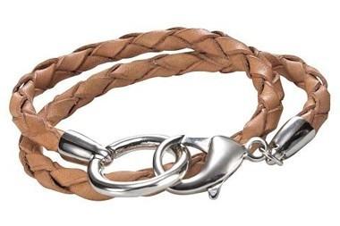 Leder-Armband, camel-silber von Heine