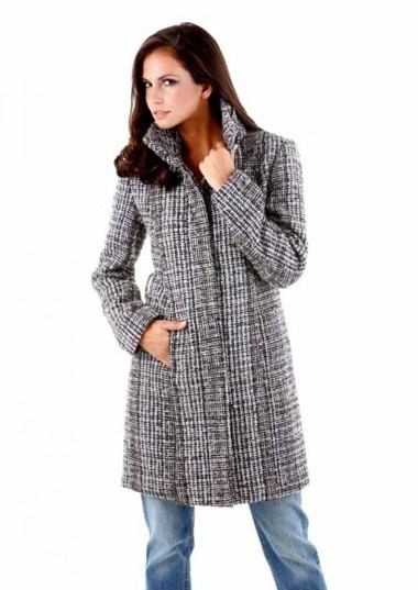Mantel, schwarz-creme-taupe von Aniston