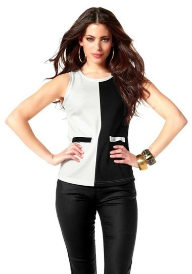 Colorblocking-Top, schwarz-creme von Laura Scott