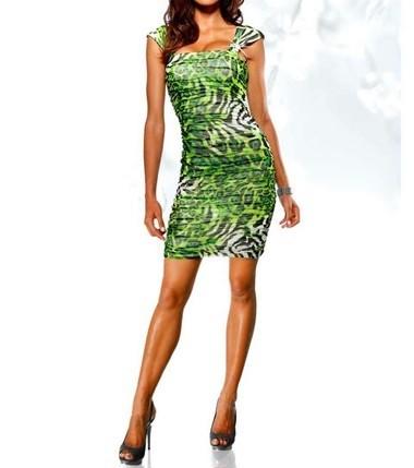 Abendkleid mit Strass grün-schwarz von Heine