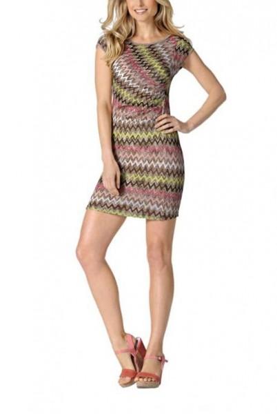 Kleid mit Raffung, taupe-bunt von Rick Cardona