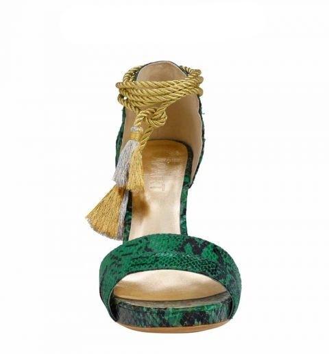 Sandalette mit Snakeprint, smaragd-gold von APART